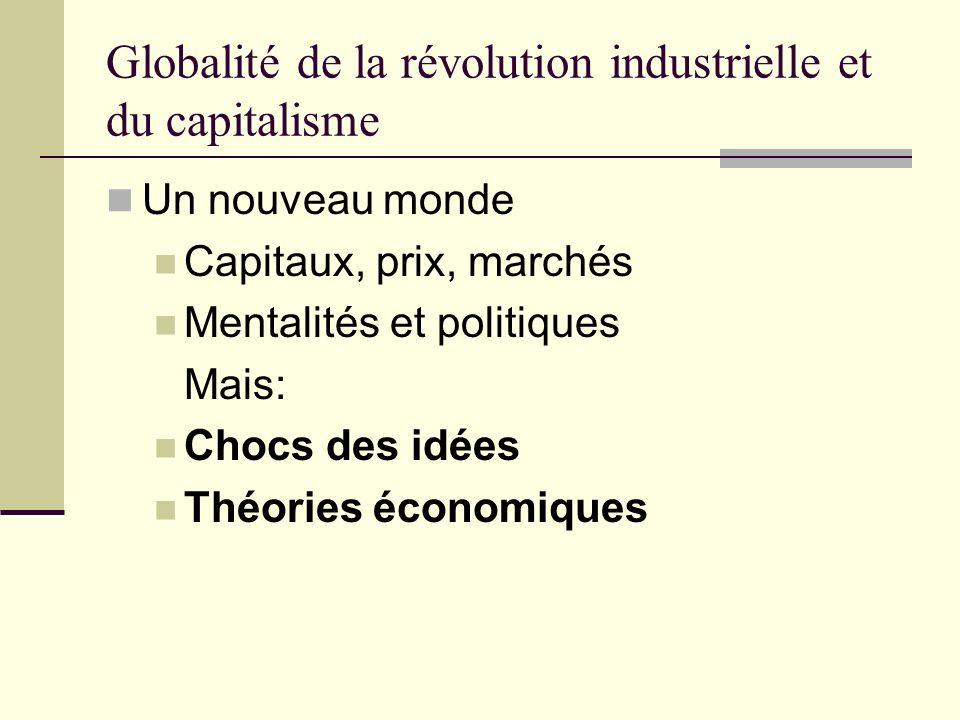 Globalité de la révolution industrielle et du capitalisme Un nouveau monde Capitaux, prix, marchés Mentalités et politiques Mais: Chocs des idées Théories économiques