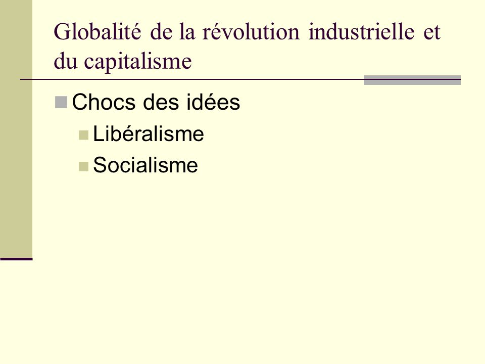 Globalité de la révolution industrielle et du capitalisme Chocs des idées Libéralisme Socialisme