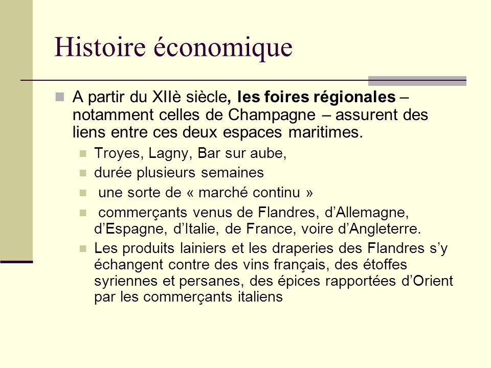 Histoire économique A partir du XIIè siècle, les foires régionales – notamment celles de Champagne – assurent des liens entre ces deux espaces maritimes.