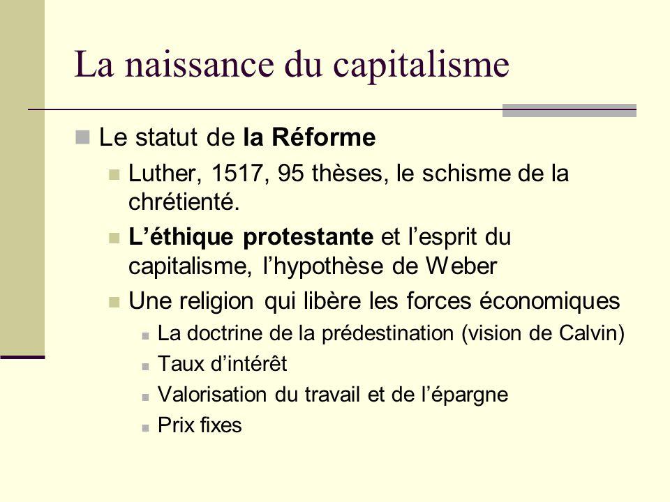 La naissance du capitalisme Le statut de la Réforme Luther, 1517, 95 thèses, le schisme de la chrétienté.