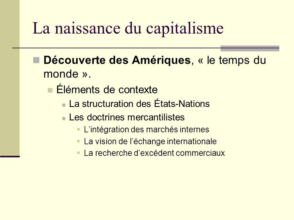 La naissance du capitalisme Découverte des Amériques, « le temps du monde ».
