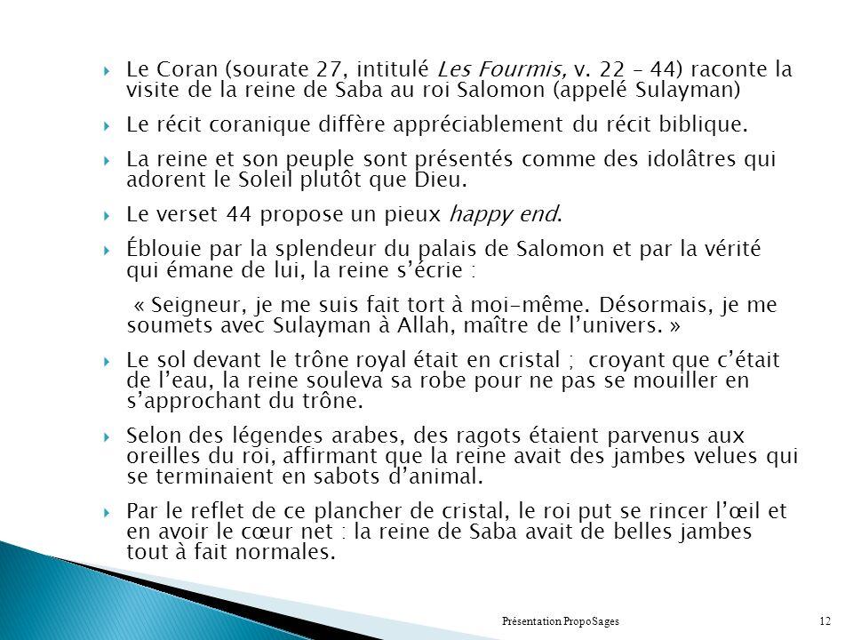 Le Coran (sourate 27, intitulé Les Fourmis, v.