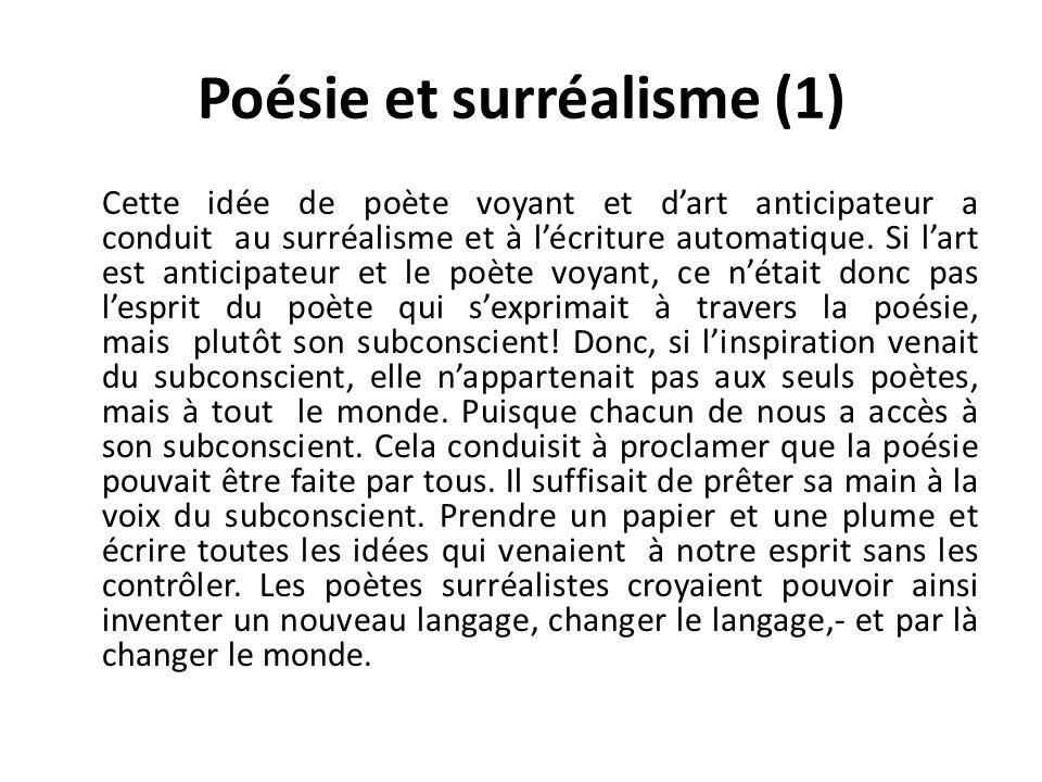 Poésie et surréalisme (1) Cette idée de poète voyant et dart anticipateur a conduit au surréalisme et à lécriture automatique.