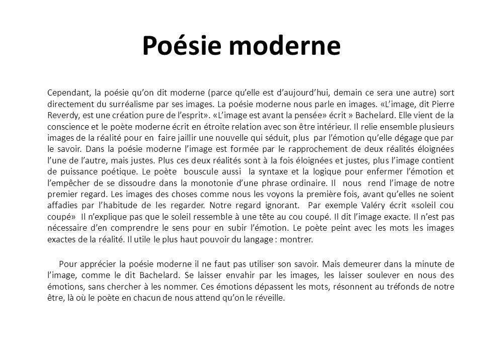 Poésie moderne Cependant, la poésie quon dit moderne (parce quelle est daujourdhui, demain ce sera une autre) sort directement du surréalisme par ses images.