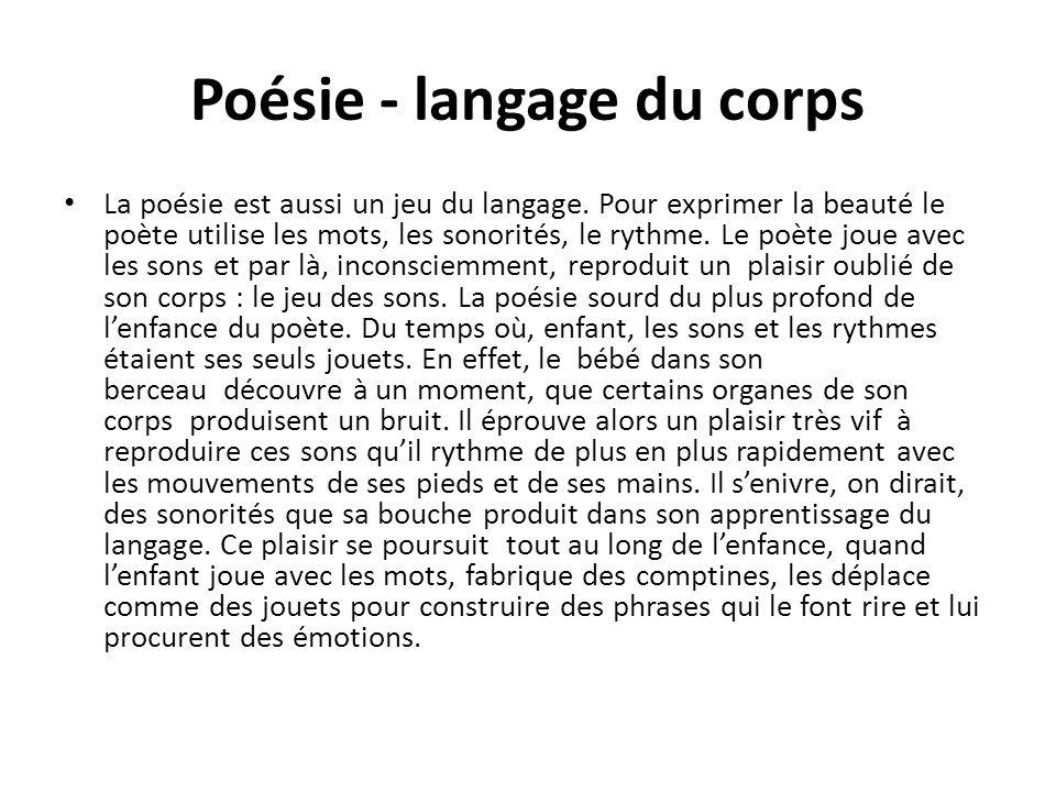 Poésie - outil - mémoire du langage Comme lenfant, le poète senivre lui aussi des sonorités des phrases et revit – inconsciemment - ce très ancien plaisir du corps et des jeux.