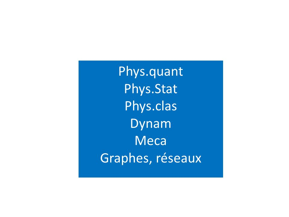 Phys.quant Phys.Stat Phys.clas Dynam Meca Graphes, réseaux
