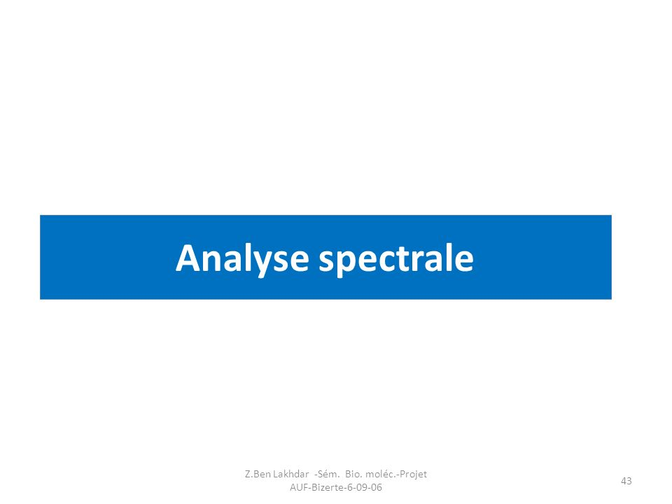 Z.Ben Lakhdar -Sém. Bio. moléc.-Projet AUF-Bizerte-6-09-06 43 Analyse spectrale