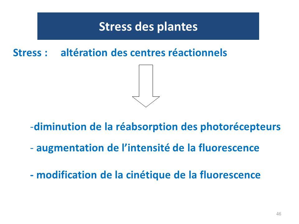 46 Stress des plantes Stress : altération des centres réactionnels -diminution de la réabsorption des photorécepteurs - augmentation de lintensité de