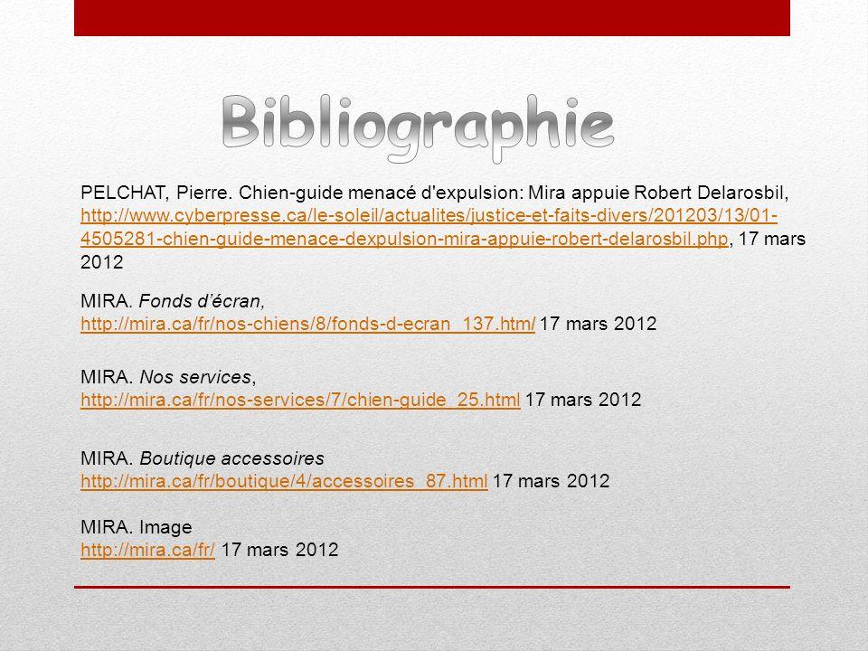 PELCHAT, Pierre. Chien-guide menacé d'expulsion: Mira appuie Robert Delarosbil, http://www.cyberpresse.ca/le-soleil/actualites/justice-et-faits-divers