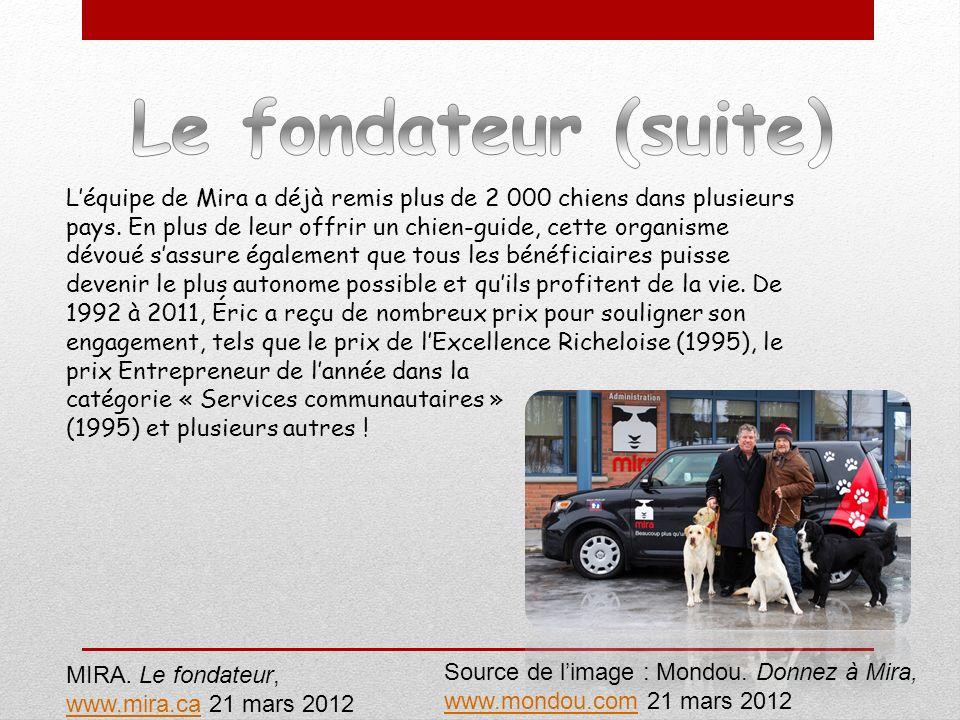 MIRA. Le fondateur, www.mira.cawww.mira.ca 21 mars 2012 Source de limage : Mondou. Donnez à Mira, www.mondou.comwww.mondou.com 21 mars 2012 Léquipe de