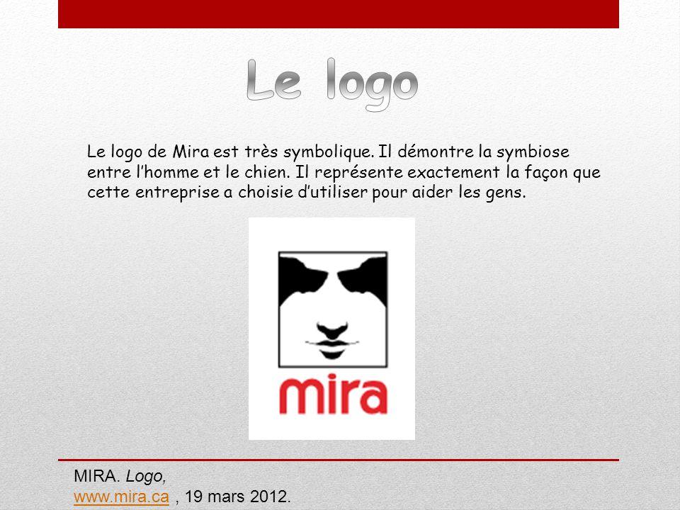 Le logo de Mira est très symbolique. Il démontre la symbiose entre lhomme et le chien. Il représente exactement la façon que cette entreprise a choisi