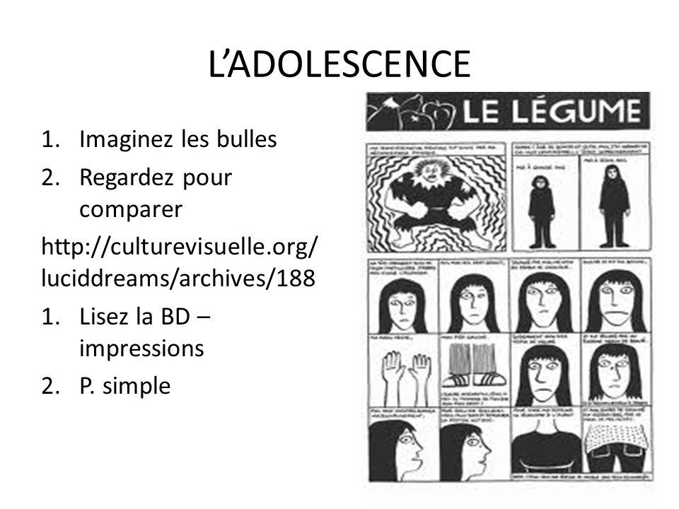 LADOLESCENCE 1.Imaginez les bulles 2.Regardez pour comparer http://culturevisuelle.org/ luciddreams/archives/188 1.Lisez la BD – impressions 2.P.