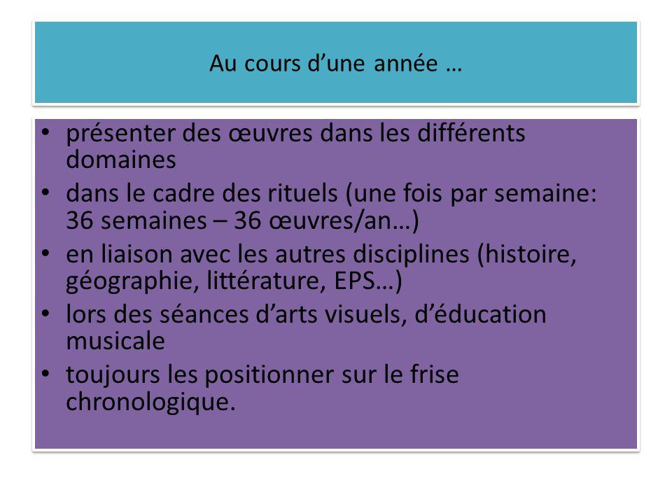 Au cours dune année … présenter des œuvres dans les différents domaines dans le cadre des rituels (une fois par semaine: 36 semaines – 36 œuvres/an…)
