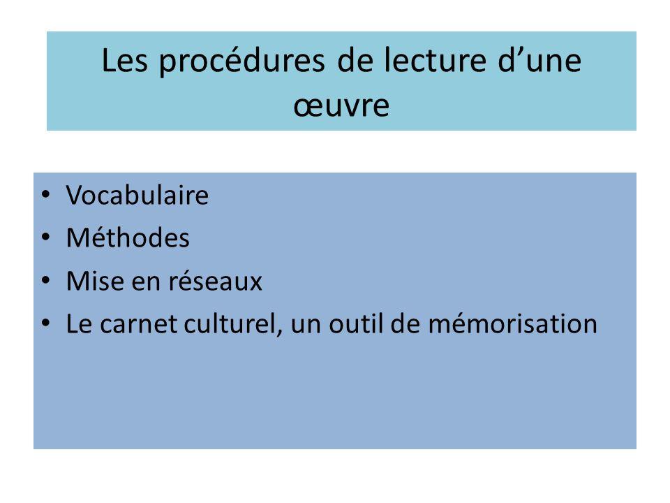 Les procédures de lecture dune œuvre Vocabulaire Méthodes Mise en réseaux Le carnet culturel, un outil de mémorisation