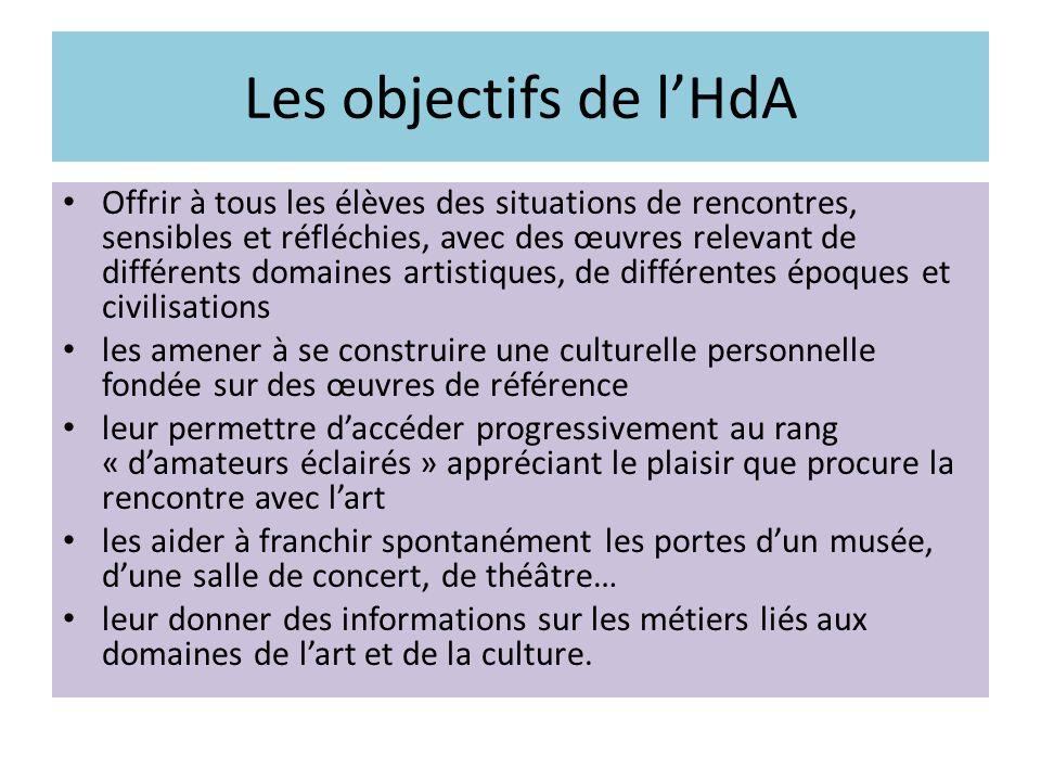 Les objectifs de lHdA Offrir à tous les élèves des situations de rencontres, sensibles et réfléchies, avec des œuvres relevant de différents domaines