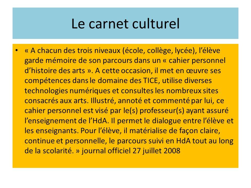 Le carnet culturel « A chacun des trois niveaux (école, collège, lycée), lélève garde mémoire de son parcours dans un « cahier personnel dhistoire des