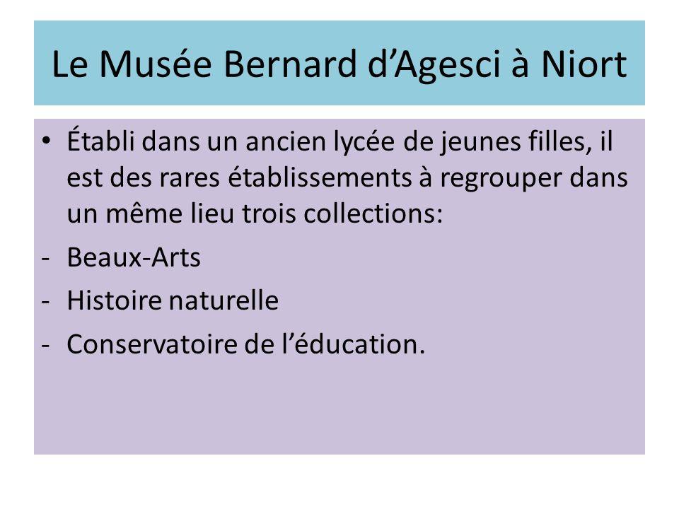 Le Musée Bernard dAgesci à Niort Établi dans un ancien lycée de jeunes filles, il est des rares établissements à regrouper dans un même lieu trois col
