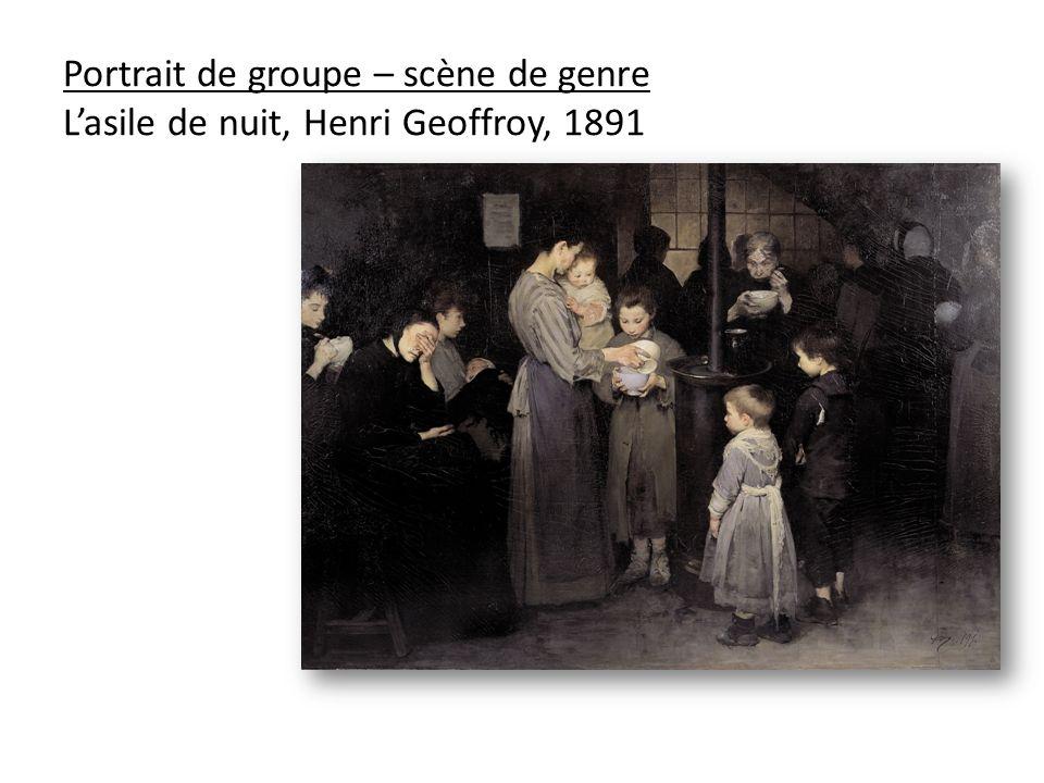 Portrait de groupe – scène de genre Lasile de nuit, Henri Geoffroy, 1891