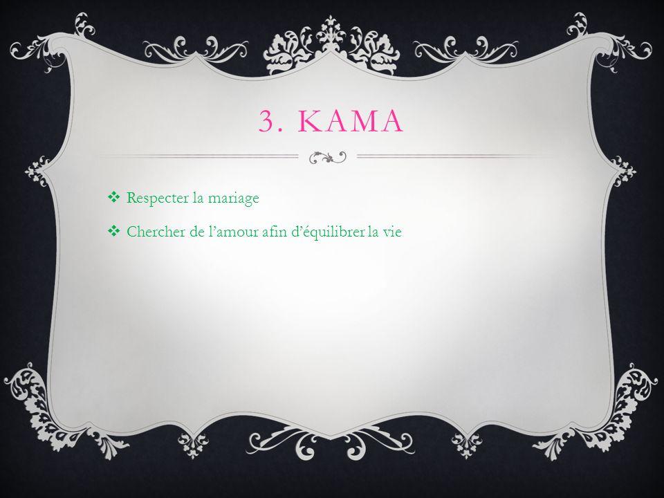 3. KAMA Respecter la mariage Chercher de lamour afin déquilibrer la vie