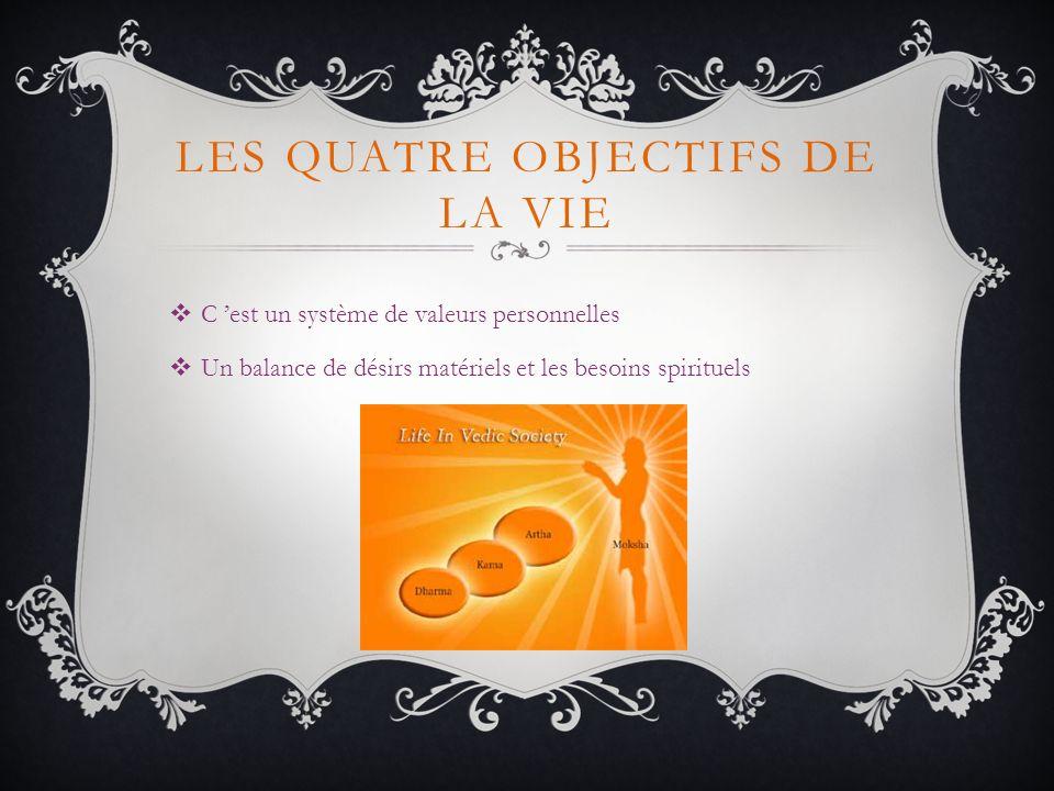 LES QUATRE OBJECTIFS DE LA VIE C est un système de valeurs personnelles Un balance de désirs matériels et les besoins spirituels