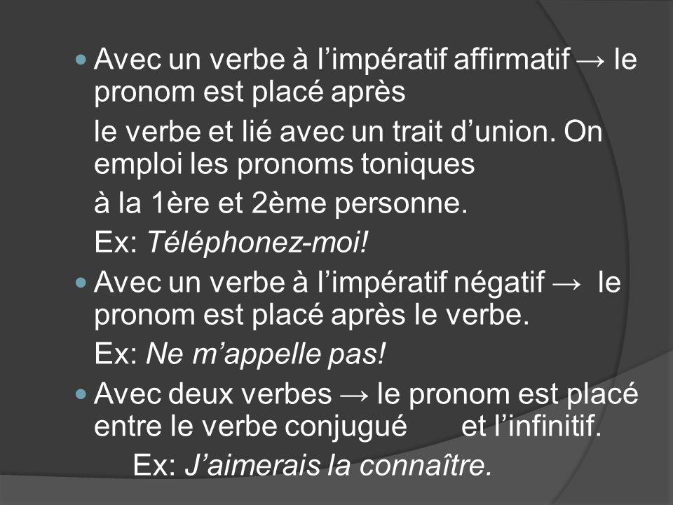 Avec un verbe à limpératif affirmatif le pronom est placé après le verbe et lié avec un trait dunion. On emploi les pronoms toniques à la 1ère et 2ème