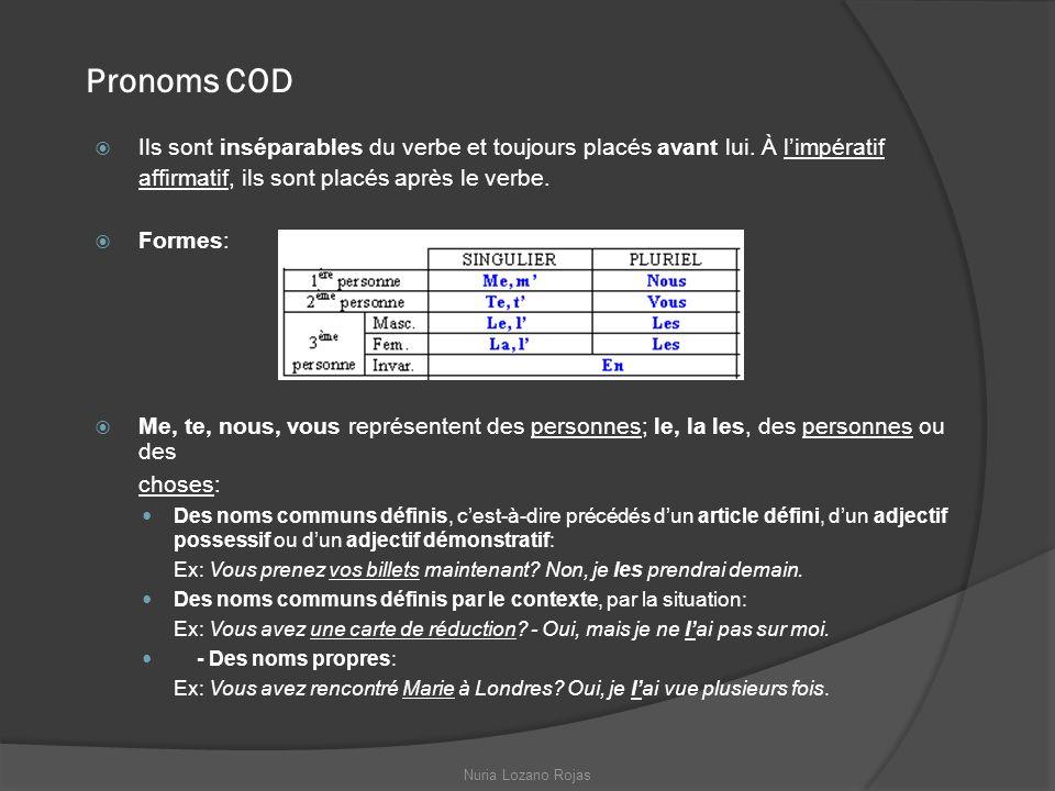Pronoms COD Ils sont inséparables du verbe et toujours placés avant lui. À limpératif affirmatif, ils sont placés après le verbe. Formes: Me, te, nous