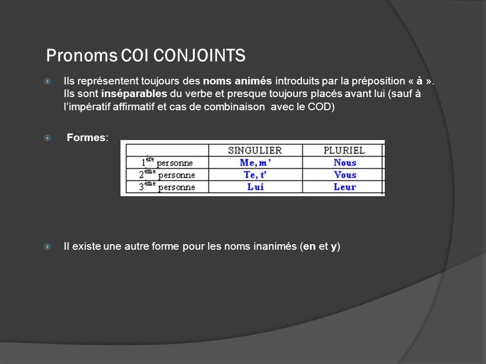 Pronoms COI CONJOINTS Ils représentent toujours des noms animés introduits par la préposition « à ». Ils sont inséparables du verbe et presque toujour