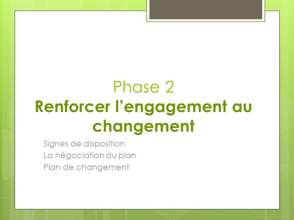 Phase 2 Renforcer lengagement au changement Signes de disposition La négociation du plan Plan de changement