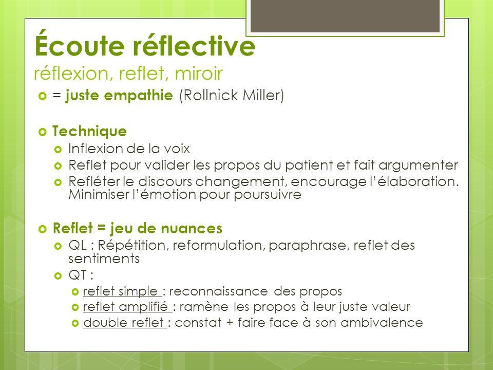 Écoute réflective réflexion, reflet, miroir = juste empathie (Rollnick Miller) Technique Inflexion de la voix Reflet pour valider les propos du patient et fait argumenter Refléter le discours changement, encourage lélaboration.