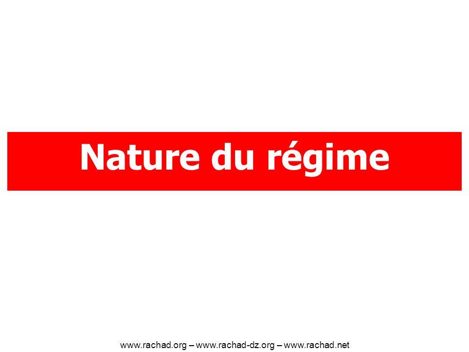 Nature du régime www.rachad.org – www.rachad-dz.org – www.rachad.net