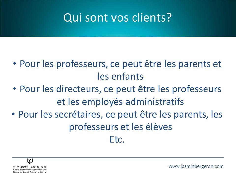 www.jasminbergeron.com Qui sont vos clients? Pour les professeurs, ce peut être les parents et les enfants Pour les directeurs, ce peut être les profe