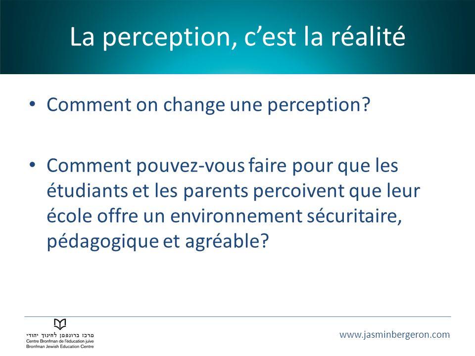 www.jasminbergeron.com La perception, cest la réalité Comment on change une perception? Comment pouvez-vous faire pour que les étudiants et les parent