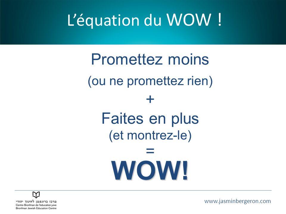 www.jasminbergeron.com Léquation du WOW ! Promettez moins (ou ne promettez rien) + Faites en plus (et montrez-le) =WOW!