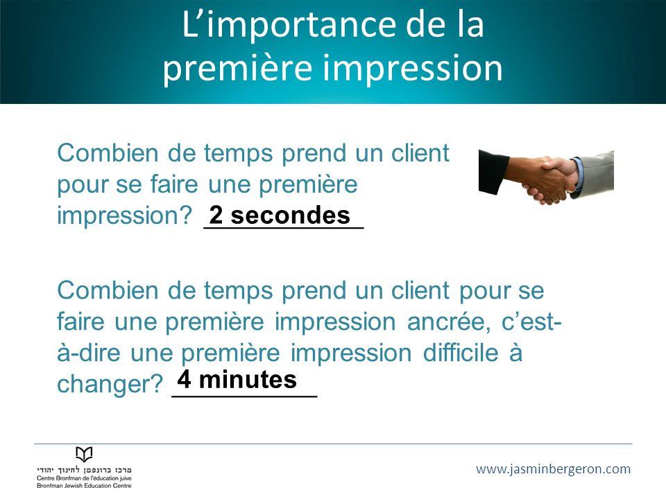 www.jasminbergeron.com Limportance de la première impression Combien de temps prend un client pour se faire une première impression? ___________ Combi