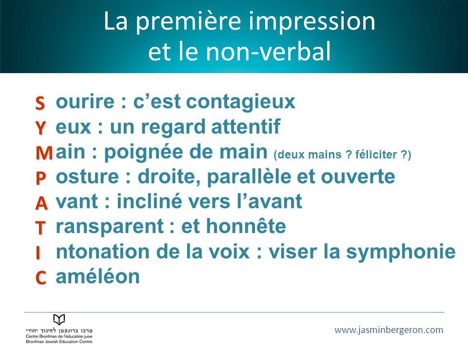 www.jasminbergeron.com La première impression et le non-verbal SYMPATIC ourire : cest contagieux eux : un regard attentif ain : poignée de main (deux mains .