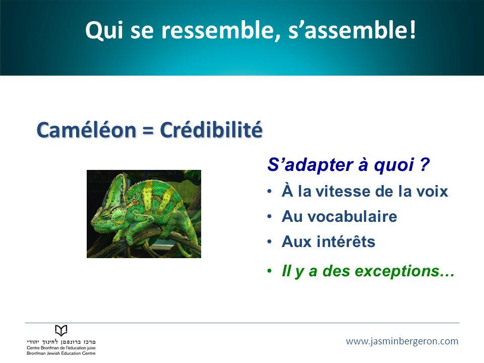 www.jasminbergeron.com Caméléon = Crédibilité Caméléon = Crédibilité Qui se ressemble, sassemble! Sadapter à quoi ? À la vitesse de la voix Au vocabul