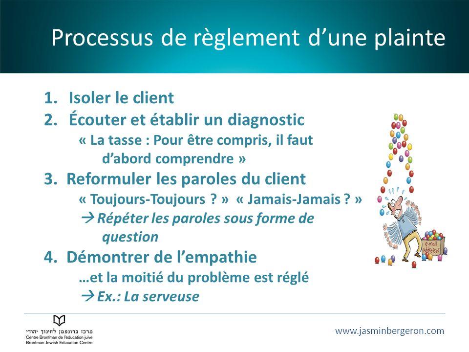 www.jasminbergeron.com 1.Isoler le client 2.Écouter et établir un diagnostic « La tasse : Pour être compris, il faut dabord comprendre » 3.