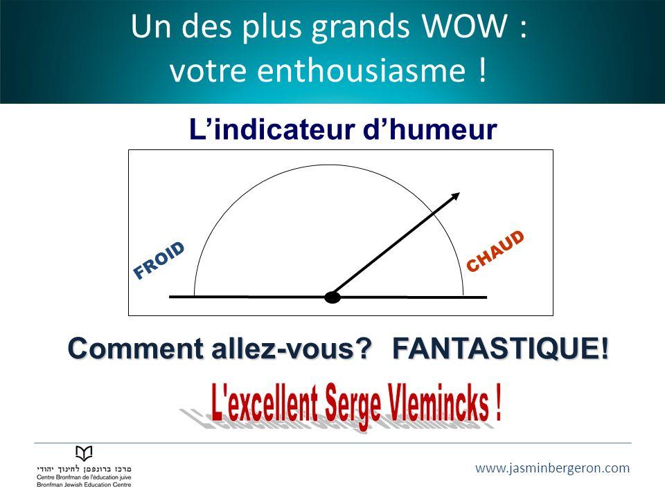 www.jasminbergeron.com FROID CHAUD Lindicateur dhumeur Comment allez-vous? Un des plus grands WOW : votre enthousiasme ! FANTASTIQUE!