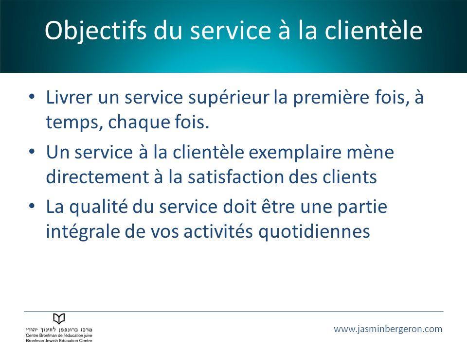 www.jasminbergeron.com Objectifs du service à la clientèle Livrer un service supérieur la première fois, à temps, chaque fois. Un service à la clientè