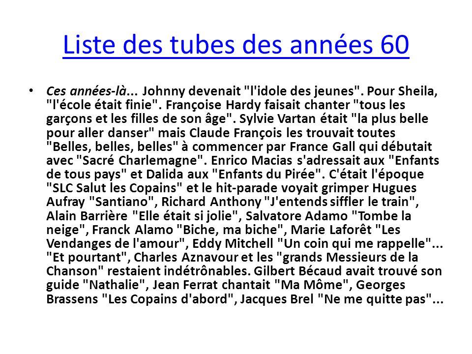 Liste des tubes des années 60 Ces années-là... Johnny devenait l idole des jeunes .