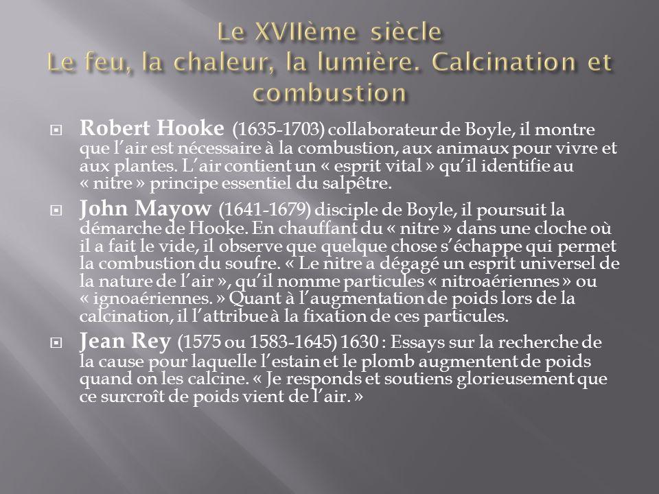 Robert Hooke (1635-1703) collaborateur de Boyle, il montre que lair est nécessaire à la combustion, aux animaux pour vivre et aux plantes.