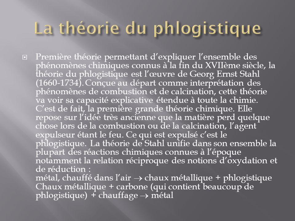 Première théorie permettant dexpliquer lensemble des phénomènes chimiques connus à la fin du XVIIème siècle, la théorie du phlogistique est lœuvre de Georg Ernst Stahl (1660-1734).