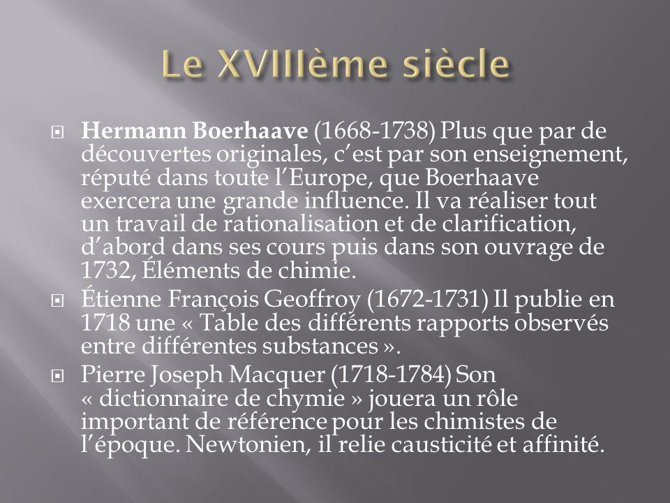 Hermann Boerhaave (1668-1738) Plus que par de découvertes originales, cest par son enseignement, réputé dans toute lEurope, que Boerhaave exercera une grande influence.