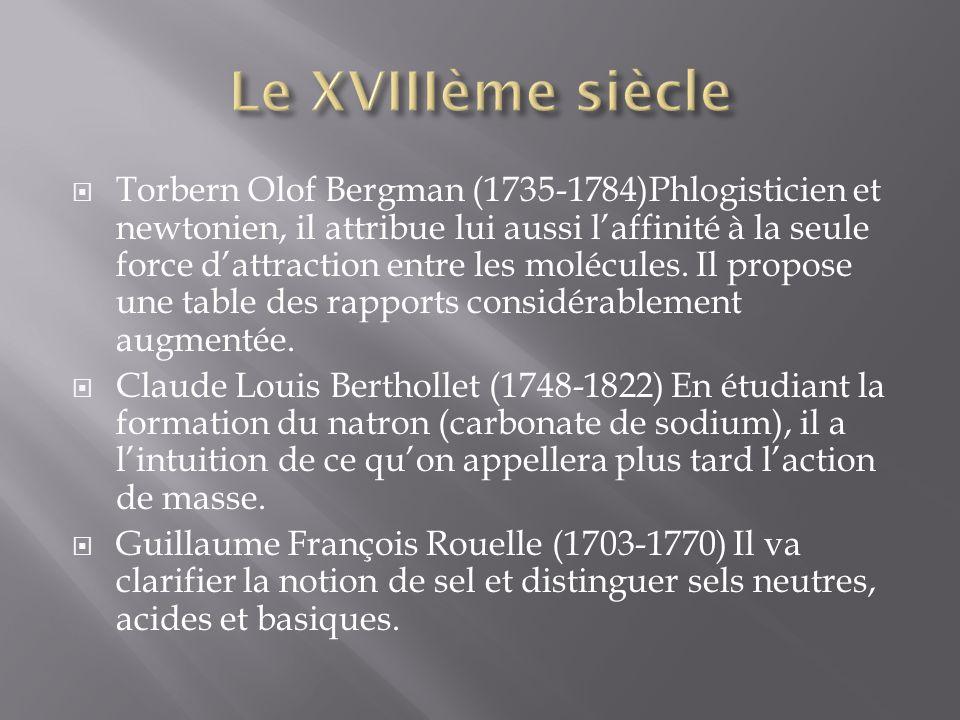 Torbern Olof Bergman (1735-1784)Phlogisticien et newtonien, il attribue lui aussi laffinité à la seule force dattraction entre les molécules.