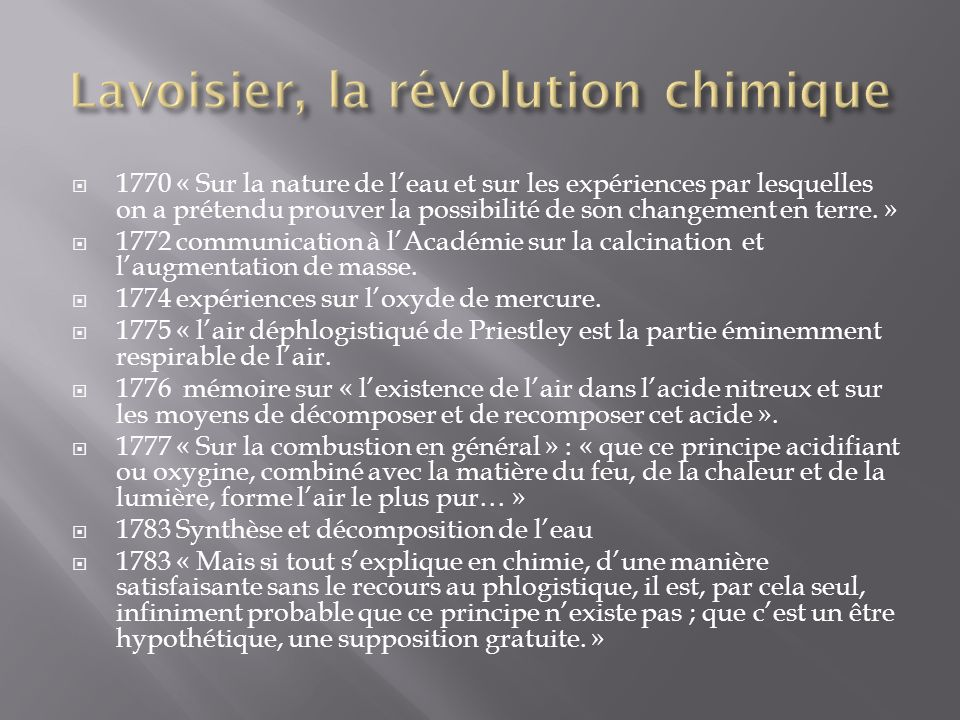 1770 « Sur la nature de leau et sur les expériences par lesquelles on a prétendu prouver la possibilité de son changement en terre.