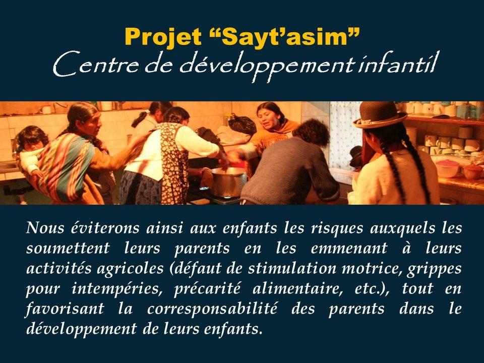 Nous voulons donner aux enfants de lAltiplano, entre un an et demi et cinq ans, la chance de recevoir une éducation orientée vers le développement de leurs capacités cognitives, affectives, psychomotrices et physiques.