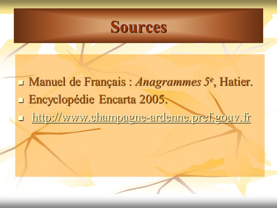Sources Manuel de Français : Anagrammes 5 e, Hatier. Manuel de Français : Anagrammes 5 e, Hatier. Encyclopédie Encarta 2005. Encyclopédie Encarta 2005