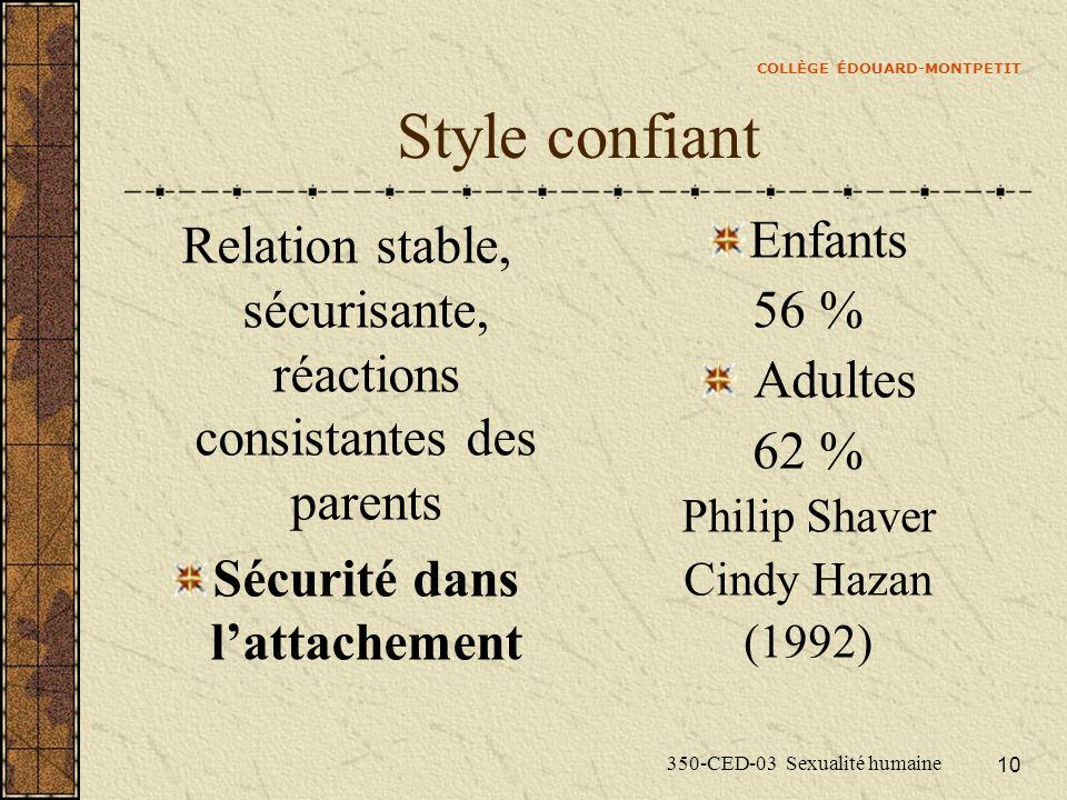 COLLÈGE ÉDOUARD-MONTPETIT 350-CED-03 Sexualité humaine 10 Style confiant Relation stable, sécurisante, réactions consistantes des parents Sécurité dan