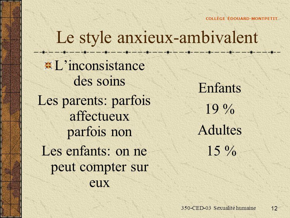 COLLÈGE ÉDOUARD-MONTPETIT 350-CED-03 Sexualité humaine 12 Le style anxieux-ambivalent Linconsistance des soins Les parents: parfois affectueux parfois