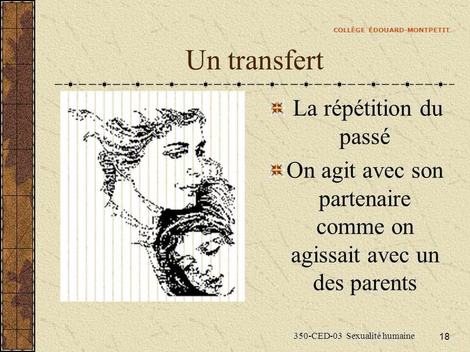 COLLÈGE ÉDOUARD-MONTPETIT 350-CED-03 Sexualité humaine 18 Un transfert La répétition du passé On agit avec son partenaire comme on agissait avec un des parents